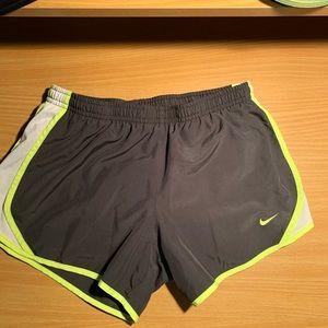 Grey and green kids nike shorts